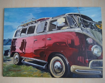 Volkswagen T1 on the beach oil on canvas painting