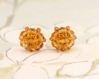 50s Earrings, Vintage Earrings, Cluster Earrings, 50s Clip Earrings, Amber Clip-On, Orange Cluster Earrings