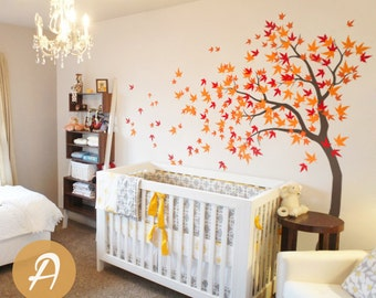 Large tree wall sticker White tree wall decal Large tree decal Maple tree wall decal Nursery wall art Wall mural sticker -AM023