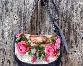 bag denim and point cross vintage pink flowers satchel