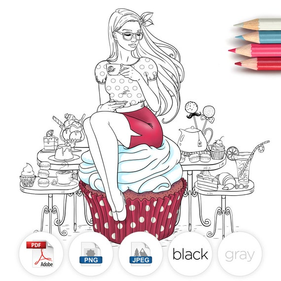 Adult Coloring Page Fantasy Cupcake Line Art