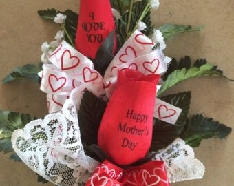 Mother's Day Personalized Message Wooden Rose Bouquet