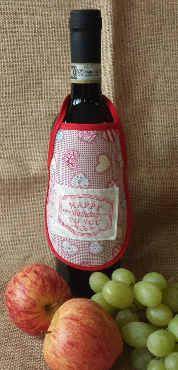 Wine Bottle Apron Happy Birthday to You Novelty Gift Unique