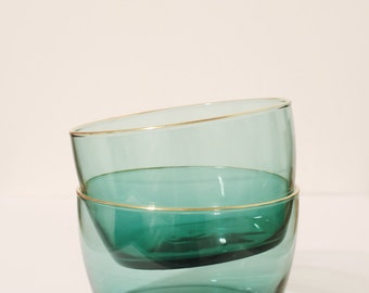 Vintage teal/blue glass bowls with gold leafing on the edge