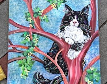 Custom pet painting, oil cat painting, custom animal painting, cat painting