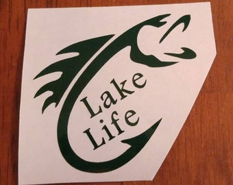 Lake Life Decal - permanent vinyl - perfect for Yeti & Rtic cups, boats, car windows, etc. Decal only. Cabin, lake house or Mancave decor!