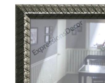 Custom Pewter Grey Weaved Wall Mirror - Flat Glass - FREE SHIPPING