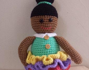 "Handmade Crochet Doll ""Dulce chocolate"" art"