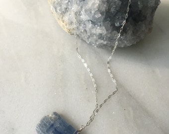 Raw Blue Kyanite Crystal Necklace