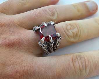 Dragon eagle claw 925 sterling silver ring blade gothic men gift red ruby stone