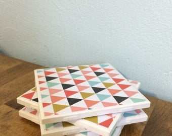Multicolored Geometric Triangle Coasters