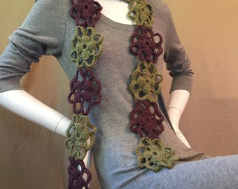 New Handmade Crochet Green and Deep Purple Motif Scarf
