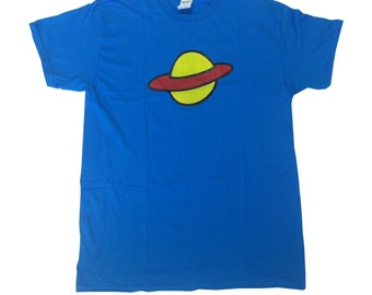Saturn T-shirt As Worn By Chuckie Finster In Rugrats TV Show Planet 90's Shirt Nickelodeon Chucky Costume Cartoon Cosplay Adult Blue