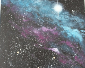 Blue And Purple Nebula And Stars Acrylic Painting