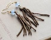 Antique Metal Fringe Tassel Earrings Shoulder Dusters Blue Faceted Glass Long Antiqued Gold Something Old Something Blue Wedding