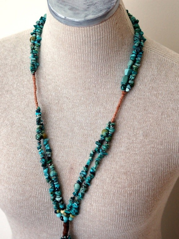 GenuineTurquoise Statement Necklace Stone Tassel One Of A Kind Heirloom Jewelry Unique Wear With Everything Leather Wrapping No Catch