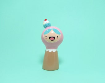 Pink Cupcake Girl Figurine - Collectible Miniature Resin Figure