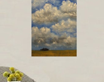 Tall Landscape Painting, Clouds, Blue Sky, Trees, Golden Field, Large Oil Painting, Winjimir, Home Decor, Wall Art, Original Painting, Gift,