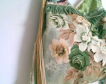 Tattered Green Floral Bag, Vintage Fabric, Vintage Sandersons, Frayed, Shopper, Large Bag, Fringe, Boho, Tassels, Shoulder Bag