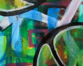 Original Art Abstract Acrylic Painting Green Blue White Bold Black Lines Unframed