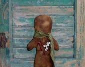 Gingerbread Doll, Handmade Christmas Decor, Primitive Doll, Mantle Decor, Stocking Stuffer, American Made, Sage  Green Scarf, READY TO SHIP