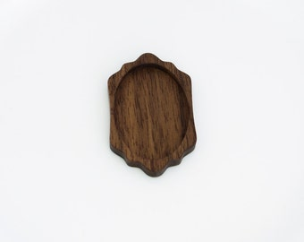 Brooch Blank - Brooch Base - Handcrafted by ArtBASE - Natural Walnut - Oval - 34x52 mm - (C3-W)