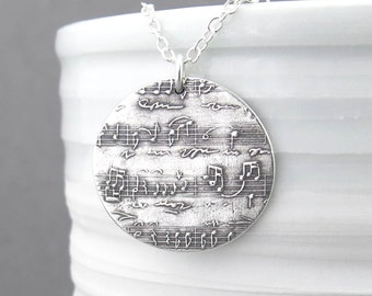 Sheet Music Necklace Music In My Soul Large Size Sheet Music Jewelry Sterling Silver Necklace Pendant Music Lover Unique Handmade Jewelry