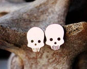 Skull earrings, Halloween jewelry, zombie earrings, skeleton goth costume orange copper sterling silver posts