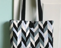 Black and White Chevron Purse, Corduroy, Only One