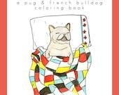 Printable Adult Coloring Book, Pug French Bulldog Coloring Book, Instant Download Coloring Book Page, Pug Gift,Pug Print,Coloring for Adults