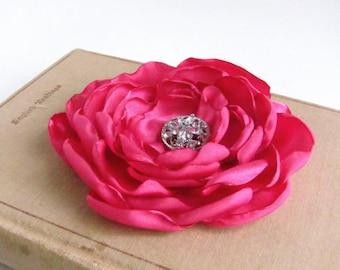 Fuchsia Flower Hair Clip.brooch.pin.Wedding.Bridesmaid.Headpiece.Corsage.Fuchsia Pink Flower.dark pink.Flower hair piece.bridal accessory