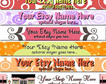 Premade Etsy Shop Banner - Etsy Banner Design - SHOP ICON - Bright Retro Whimsical  Polk Dots Scrolls Boutique Style