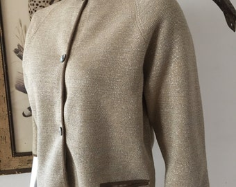 1960s Metallic Knit Cardigan Maison Mendessolle