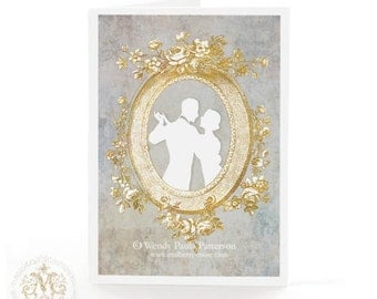 Romantic love Valentine card, art deco cameo silhouette of 1920s dancing couple, blank inside