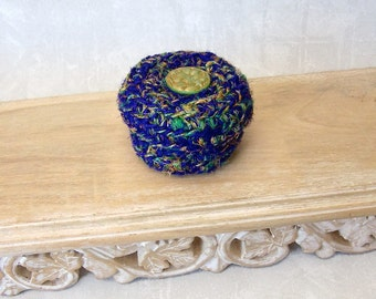 Flower Inspired Small Lidded Basket - Handmade Silk Basket with Czech Glass Embellishment - Blue Green Multicolor Basket Gift for Her STB015