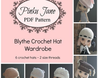 Blythe Crochet Hat Wardrobe Pattern eBook - 6 Patterns - 50 Percent OFF! Pinku Jane Downloadable PDF Pattern