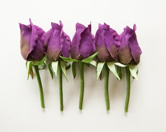 ONE Budded Rose Pick in Purple - Corsage or Boutonniere Supply - Artificial Silk Flowers - ITEM 0601