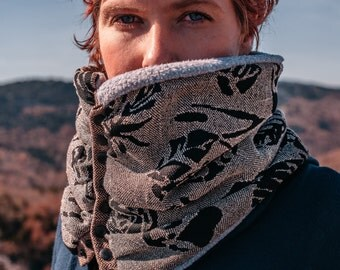 Snap Front cowl scarf: winter fashion accessory, BLACK AND ROSES. Circular cowl scarf with modern snap detail, fully lined with warm fleece.