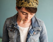 Gold and Indigo Headwrap Garlands of Grace Headcovering Hair Veil Wedding