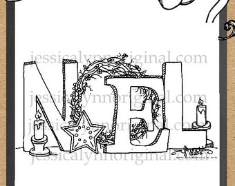 Noel Digital Stamp Holiday Christmas Cards part of the money from this digital stamp
