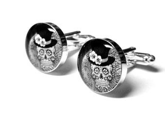 Skull Wedding Cufflinks, Fiance Gift, Day of the Dead, Sugar Skull, Personalized, Mens Accessories, Handmade Cufflinks, Grooms Gift