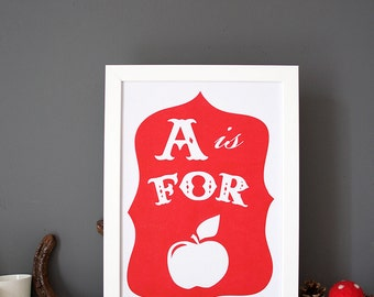 A is For Apple print