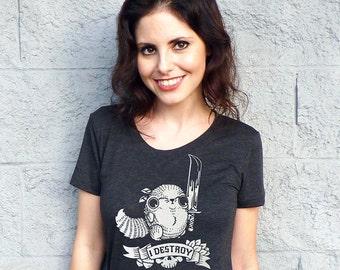 I Destroy Women's Tshirt - Red Squirrel Shirt, Vegan Shirt, Inspirational Tshirt, Funny Tshirt, Graphic Tee, Women's Triblend Tshirt