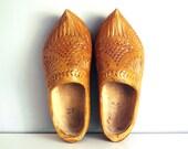 1960s Carved Dutch Wooden Shoes Vintage Adult Hand Carved Netherlands Footwear Souvenir Cottage Chic Decor Folk Art Costume St Nicholas Day