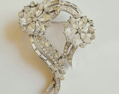 Weiss Rhinestone Brooch- Vintage Floral Pin Austrian Crystals FREE SHIPPING