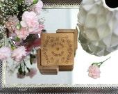 Personalized Couple Coaster Set, Custom Wood Coaster, Square Wood Coaster, Engraved Coasters, Floral Coasters --22004-CST2-001