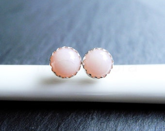 Pink Opal Earring Studs, October Birthstone, Opal Jewelry, Gemstone Earrings, Tiny Birthstone Studs, Sterling Silver Hypoallergenic (E268)