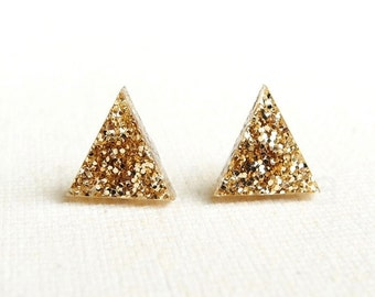 Gold Glitter Earrings, Triangle Stud Earrings, Holiday Party Jewelry, Glitter Sparkly Earrings, Geometric Jewelry, Pyramid Studs (E239)