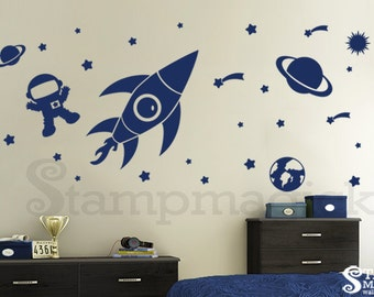 Outer Space Wall Decal - Baby Boy Nursery - Rocket Shuttle Vinyl Wall Sticker - navy blue or choose color - decor children's room - K150DB