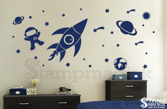 Outer space wall decal baby boy nursery rocket shuttle for Outer space vinyl wall decals
